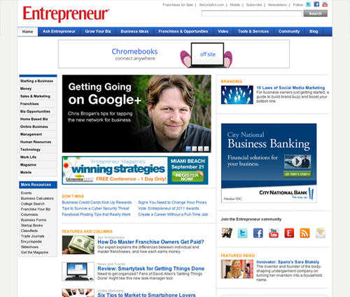Entrepreneur.com after redesign