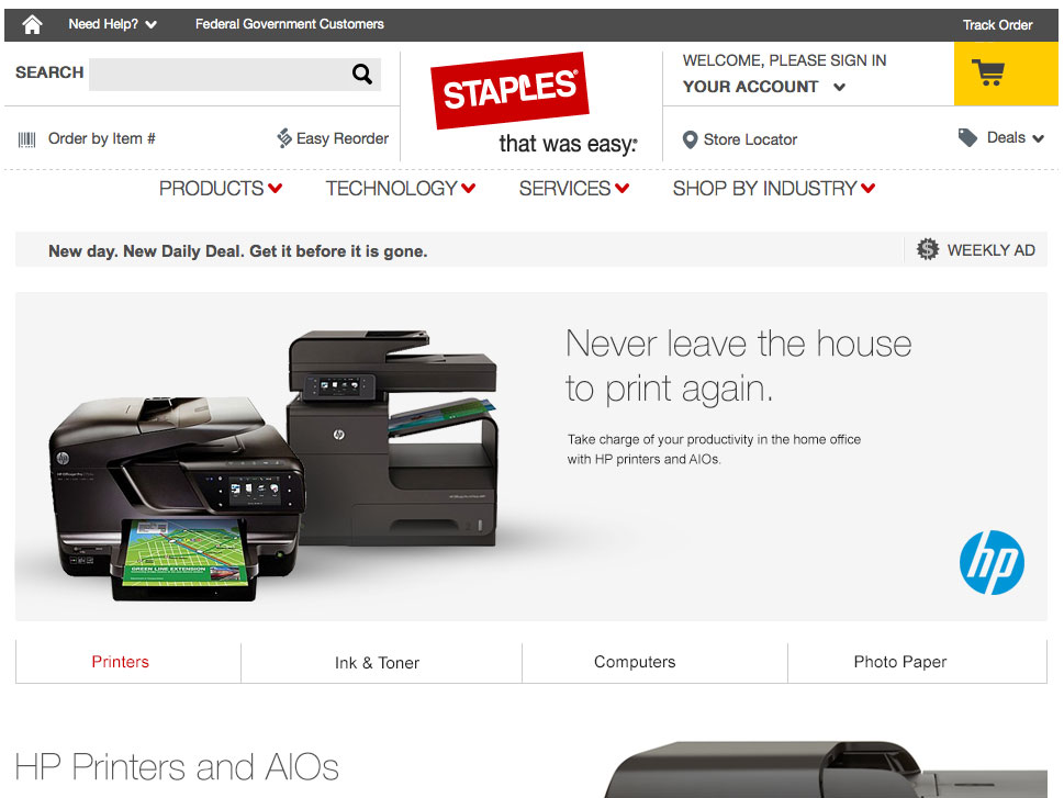 Staples HP Landing Page