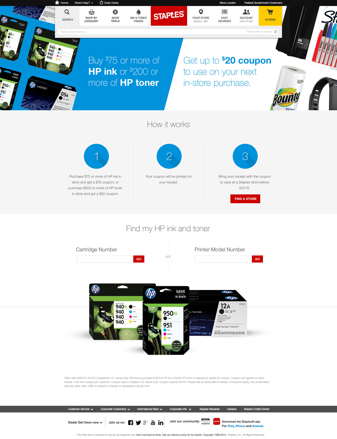 Staples HP Ink & Toner Offer