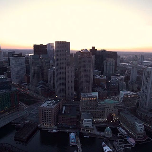 An aerial view of Boston in 4k
