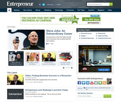 Entrepreneur.com after redesign